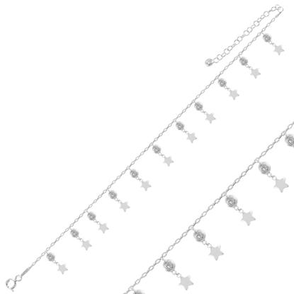 Resim Rodyum Kaplama Sallantılı Yıldız & Zirkon Taşlı Halhal