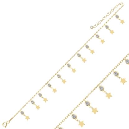 Resim Altın Kaplama Sallantılı Yıldız & Zirkon Taşlı Halhal