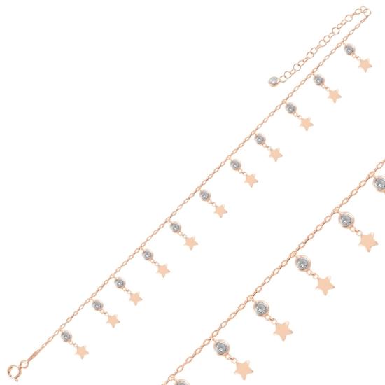 Ürün resmi: Rose Kaplama Sallantılı Yıldız & Zirkon Taşlı Halhal