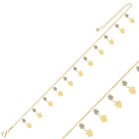 Ürün resmi: Altın Kaplama Sallantılı Kalp & Zirkon Taşlı Halhal