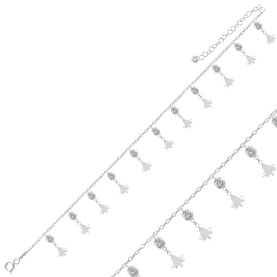 Ürün resmi: Rodyum Kaplama Sallantılı Çınar Yaprağı & Zirkon Taşlı Halhal