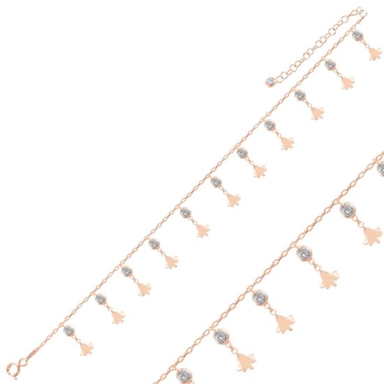 Ürün resmi: Rose Kaplama Sallantılı Çınar Yaprağı & Zirkon Taşlı Halhal
