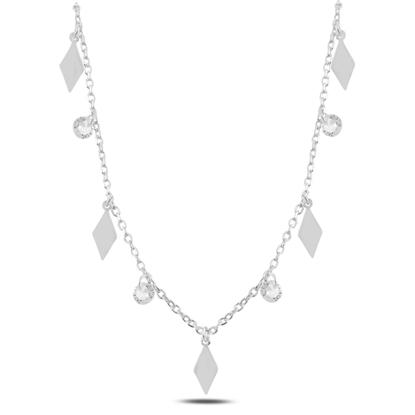 Resim Rodyum Kaplama Sallantılı Baklava Şekli & Zirkon Taşlı Gümüş Bayan Kolye