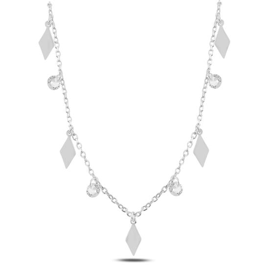 Ürün resmi: Rodyum Kaplama Sallantılı Baklava Şekli & Zirkon Taşlı Gümüş Bayan Kolye