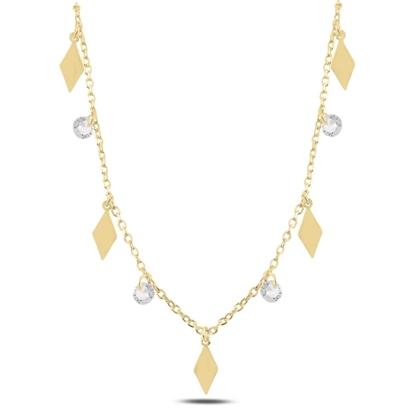 Resim Altın Kaplama Sallantılı Baklava Şekli & Zirkon Taşlı Gümüş Bayan Kolye