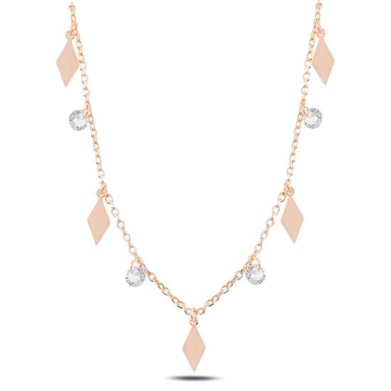 Ürün resmi: Rose Kaplama Sallantılı Baklava Şekli & Zirkon Taşlı Gümüş Bayan Kolye
