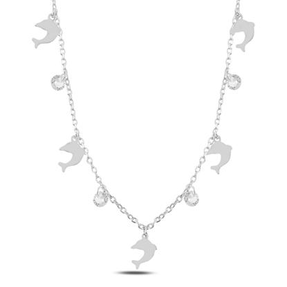 Resim Rodyum Kaplama Sallantılı Yunus Balığı & Zirkon Taşlı Gümüş Bayan Kolye
