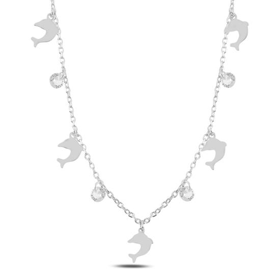 Ürün resmi: Rodyum Kaplama Sallantılı Yunus Balığı & Zirkon Taşlı Gümüş Bayan Kolye