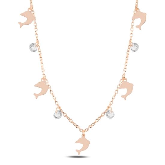 Ürün resmi: Rose Kaplama Sallantılı Yunus Balığı & Zirkon Taşlı Gümüş Bayan Kolye