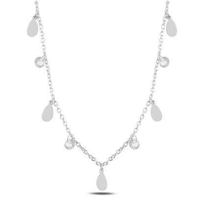 Resim Rodyum Kaplama Sallantılı Damla & Zirkon Taşlı Gümüş Bayan Kolye