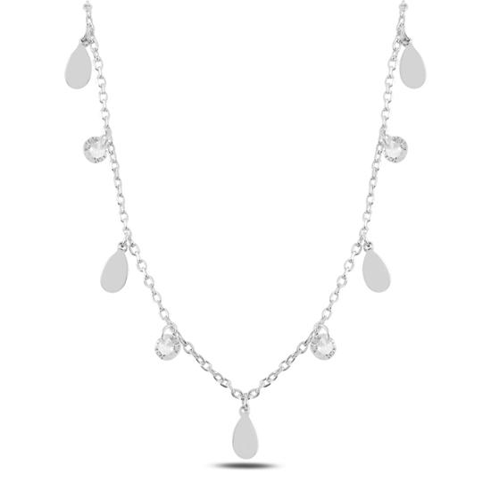 Ürün resmi: Rodyum Kaplama Sallantılı Damla & Zirkon Taşlı Gümüş Bayan Kolye