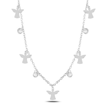 Resim Rodyum Kaplama Sallantılı Peri & Zirkon Taşlı Gümüş Bayan Kolye