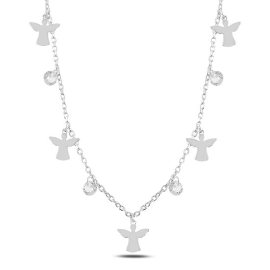 Ürün resmi: Rodyum Kaplama Sallantılı Peri & Zirkon Taşlı Gümüş Bayan Kolye