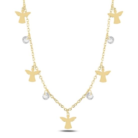 Ürün resmi: Altın Kaplama Sallantılı Peri & Zirkon Taşlı Gümüş Bayan Kolye
