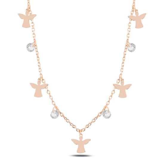 Ürün resmi: Rose Kaplama Sallantılı Peri & Zirkon Taşlı Gümüş Bayan Kolye