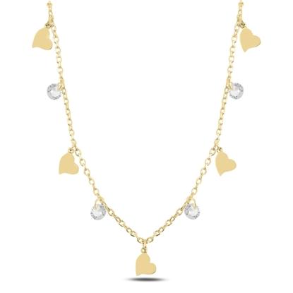 Resim Altın Kaplama Sallantılı Kalp & Zirkon Taşlı Gümüş Bayan Kolye