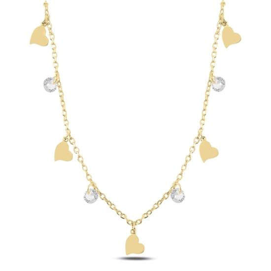 Ürün resmi: Altın Kaplama Sallantılı Kalp & Zirkon Taşlı Gümüş Bayan Kolye
