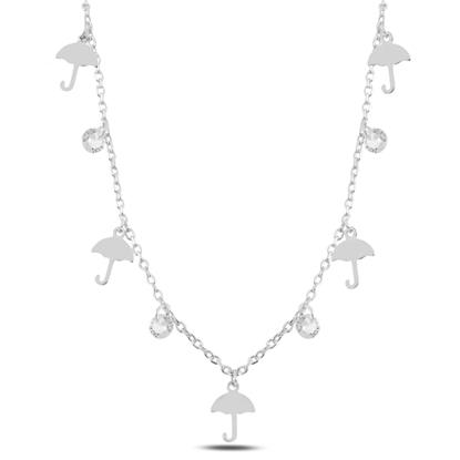 Resim Rodyum Kaplama Sallantılı Şemsiye & Zirkon Taşlı Gümüş Bayan Kolye