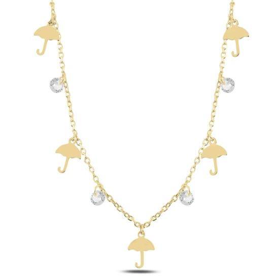 Ürün resmi: Altın Kaplama Sallantılı Şemsiye & Zirkon Taşlı Gümüş Bayan Kolye