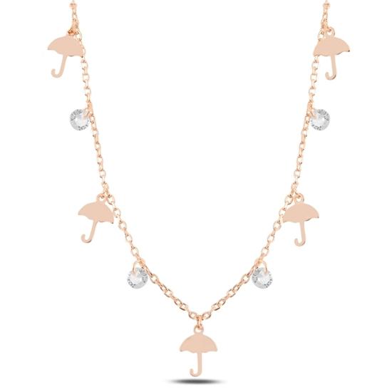Ürün resmi: Rose Kaplama Sallantılı Şemsiye & Zirkon Taşlı Gümüş Bayan Kolye