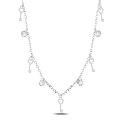 Resim Rodyum Kaplama Sallantılı Anahtar & Zirkon Taşlı Gümüş Bayan Kolye