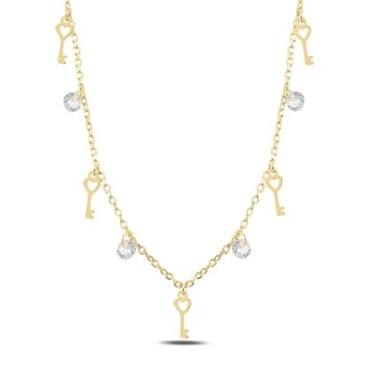 Resim Altın Kaplama Sallantılı Anahtar & Zirkon Taşlı Gümüş Bayan Kolye
