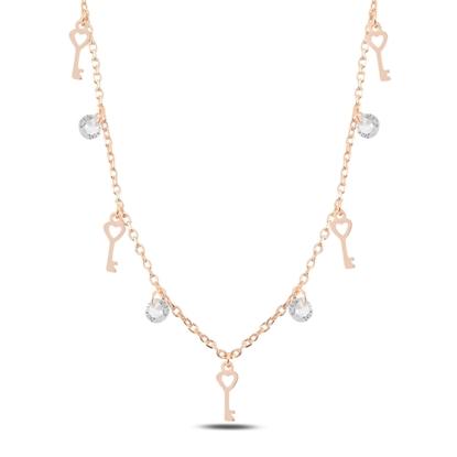 Resim Rose Kaplama Sallantılı Anahtar & Zirkon Taşlı Gümüş Bayan Kolye