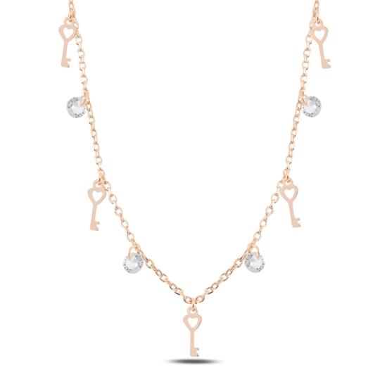 Ürün resmi: Rose Kaplama Sallantılı Anahtar & Zirkon Taşlı Gümüş Bayan Kolye