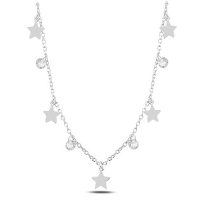 Resim Rodyum Kaplama Sallantılı Yıldız & Zirkon Taşlı Gümüş Bayan Kolye