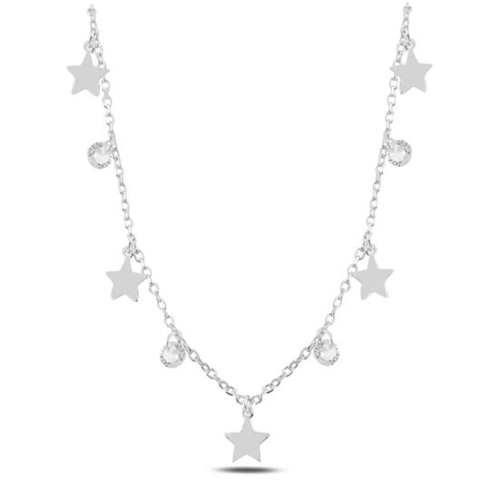 Ürün resmi: Rodyum Kaplama Sallantılı Yıldız & Zirkon Taşlı Gümüş Bayan Kolye