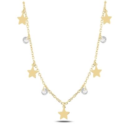 Resim Altın Kaplama Sallantılı Yıldız & Zirkon Taşlı Gümüş Bayan Kolye