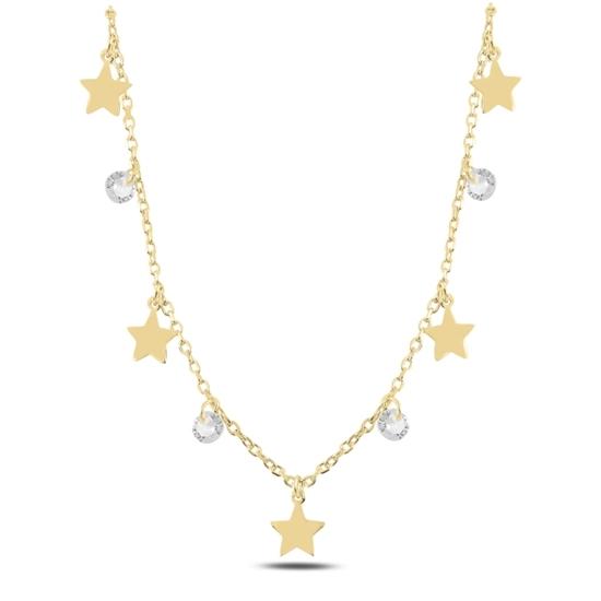Ürün resmi: Altın Kaplama Sallantılı Yıldız & Zirkon Taşlı Gümüş Bayan Kolye