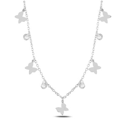 Resim Rodyum Kaplama Sallantılı Kelebek & Zirkon Taşlı Gümüş Bayan Kolye