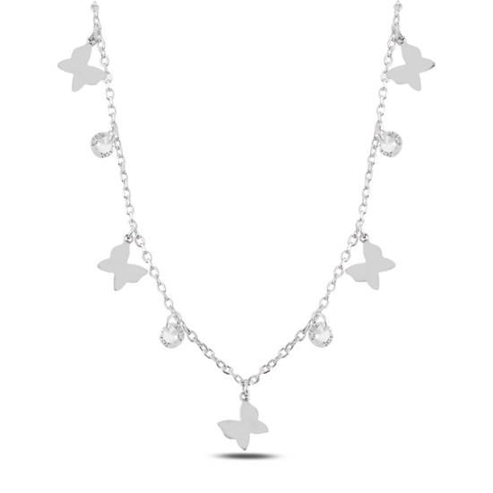 Ürün resmi: Rodyum Kaplama Sallantılı Kelebek & Zirkon Taşlı Gümüş Bayan Kolye