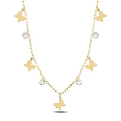Resim Altın Kaplama Sallantılı Kelebek & Zirkon Taşlı Gümüş Bayan Kolye
