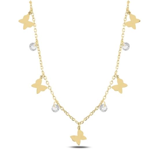 Ürün resmi: Altın Kaplama Sallantılı Kelebek & Zirkon Taşlı Gümüş Bayan Kolye