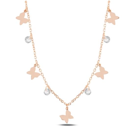 Ürün resmi: Rose Kaplama Sallantılı Kelebek & Zirkon Taşlı Gümüş Bayan Kolye