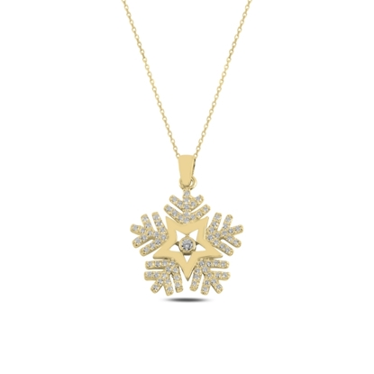 Resim Altın Kaplama Kar Tanesi Zirkon Taşlı Gümüş Bayan Kolye