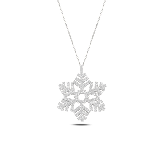 Ürün resmi: Rodyum Kaplama Kar Tanesi Zirkon Taşlı Gümüş Bayan Kolye