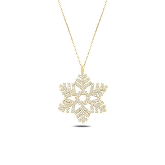 Ürün resmi: Altın Kaplama Kar Tanesi Zirkon Taşlı Gümüş Bayan Kolye