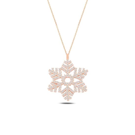 Ürün resmi: Rose Kaplama Kar Tanesi Zirkon Taşlı Gümüş Bayan Kolye