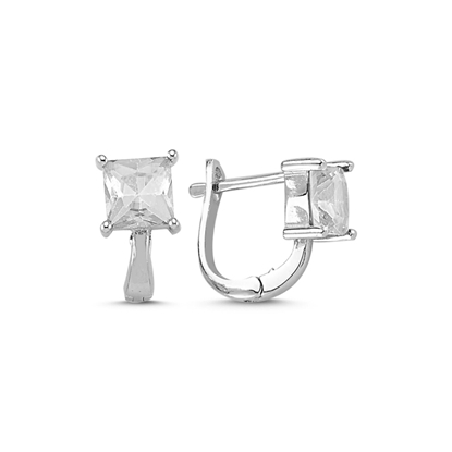 Resim Rodyum Kaplama Zirkon Taşlı Gümüş J Küpe