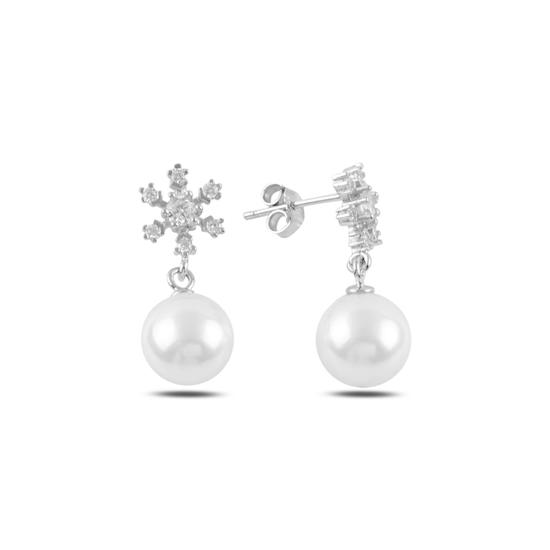 Ürün resmi: Rodyum Kaplama Sallantılı İnci & Kar Tanesi Zirkon Taşlı Gümüş Küpe