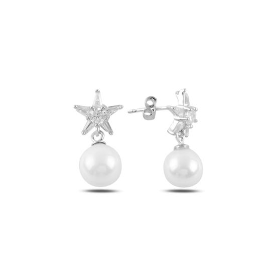 Ürün resmi: Rodyum Kaplama Sallantılı İnci & Yıldız Zirkon Taşlı Gümüş Küpe