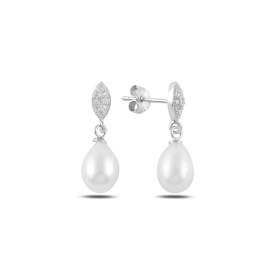 Ürün resmi: Rodyum Kaplama Sallantılı İnci & Zirkon Taşlı Gümüş Küpe