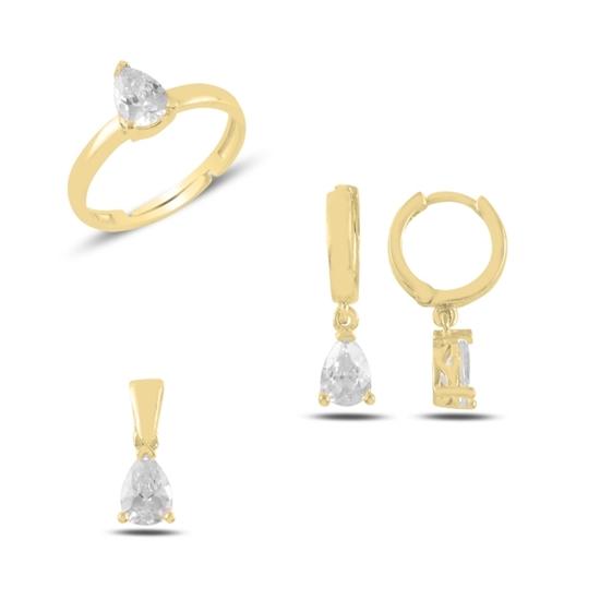 Ürün resmi: Altın Kaplama Tektaş Damla Zirkon Taşlı Gümüş Bayan Set