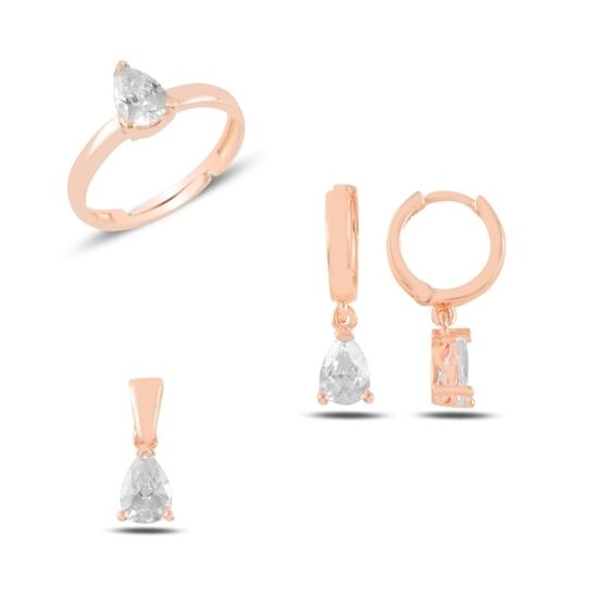Ürün resmi: Rose Kaplama Tektaş Damla Zirkon Taşlı Gümüş Bayan Set