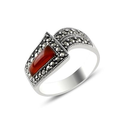 Resim Kırmızı Akik & Markazit Taşlı Gümüş Bayan Yüzük