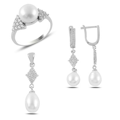 Resim Rodyum Kaplama İnci & Zirkon Taşlı Gümüş Bayan Set