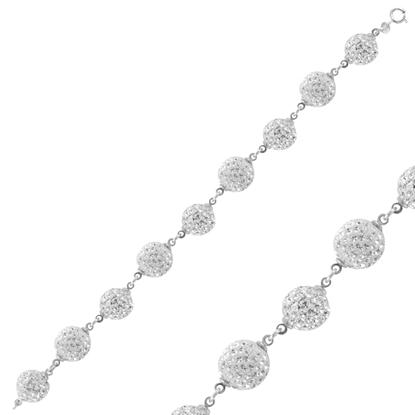 Resim Kristal Taşlı Top Gümüş Bayan Bileklik